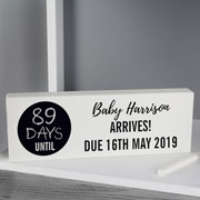 Personalised Classic Chalk Countdown Wooden Block Sign