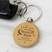 Personalised Love You To The Moon & Back Wooden Keyring