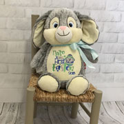 Personalised Grey Cubbies Easter Bunny Soft Toy