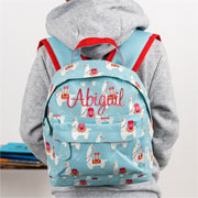 Personalised Blue Llama Backpack School Nursery Bag