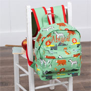 Personalised Safari Animals Childs Backpack