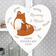 Personalised Mummy and Me Fox Large Wooden Heart Decoration