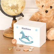 Personalised Baby Boy Wooden Rocking Horse Money Box
