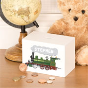 Traditional Personalised Wooden Steam Train Money Box