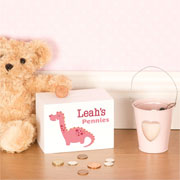 Girl's Personalised Pink Dinosaur Wooden Money Box