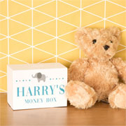 Little Boy's Personalised Elephant Wooden Money Box