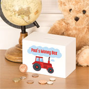 Personalised Wooden Red Tractor Money Box