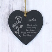 Personalised Rose Slate Heart Decoration Mother's Day Gift