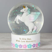 Girl's Personalised White Unicorn Snow Globe Keepsake Gift