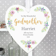 Women's Personalised Floral Watercolour Large Wooden Heart