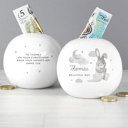 Personalised Baby Bunny Round China Money Box