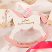 Girl's Pink Personalised Christening Rocking Horse Ornament