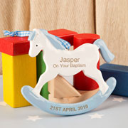 Boy's Personalised Baptism Rocking Horse Ornament