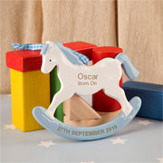 Boy's Personalised Rocking Horse Ornament New Baby Gift