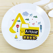 Boy's Personalised Plastic Drop-Proof Digger Plate