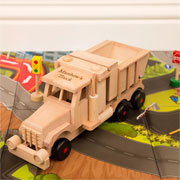 Engraved Wooden Sand Tipping Truck Toy