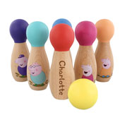 Personalised Peppa Pig Wooden Skittles Set