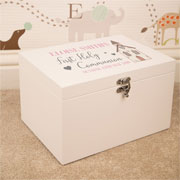 Girls White Wooden Personalised First Communion Keepsake Box