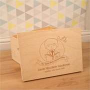 Boy's Laser Engraved 1st Communion Wooden Keepsake Box