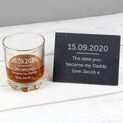 Personalised Whisky Tumbler and Slate Coaster Set