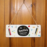 Lined Paper Personalised Wooden Teacher Hanging Sign