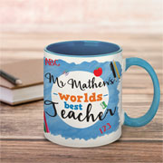 Personalised Worlds Best Teacher Blue China Mug