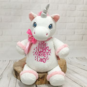 Personalised White Cubbies Little Sister Unicorn Soft Toy