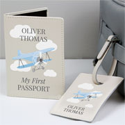 Personalised Blue Plane Passport Holder & Luggage Tag Set