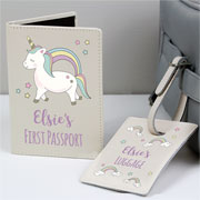Personalised Baby Unicorn Passport Holder & Luggage Tag Set