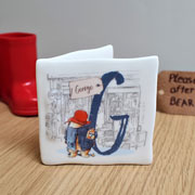 Personalised Paddington Bear Bone China Initial Message Card