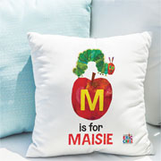 Personalised Very Hungry Caterpillar Apple Initial Cushion
