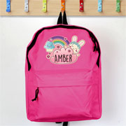 Personalised Girls Cute Bunny Pink Backpack School Bag