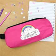 Personalised Girls Rainbow Pink Pencil Case