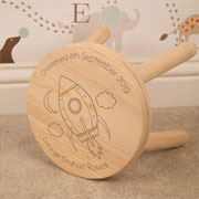 Personalised Space Rocket Engraved Kids Wooden Stool
