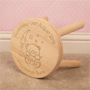 Personalised Baby Bear and Moon Children's Wooden Stool
