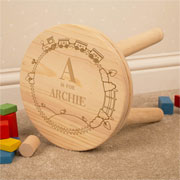 Personalised Engraved Boys Wooden Initial Name Stool