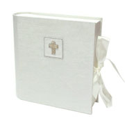 Beaded Silver Cross Medium Keepsake Box