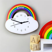 Personalised Rainbow and Cloud Shape Childrens Wooden Clock