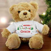 Child's Personalised Merry Christmas Teddy Bear In Tee Shirt