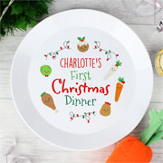 Personalised First Christmas Dinner Plastic Baby Plate
