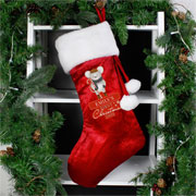 Personalised Babys Red Velvet First Christmas Mouse Stocking