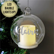 Personalised Glass LED Candle Memorial Christmas Tree Bauble