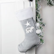 Personalised Baby Polar Bear Children's Silver Xmas Stocking