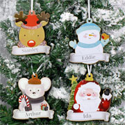 Personalised Set of Four Wooden Christmas Tree Decorations