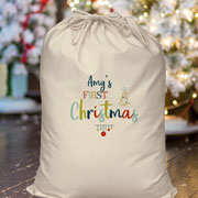 Personalised My First Christmas Cotton Baby's Santa Sack