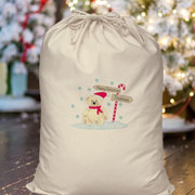 Personalised Children's Candy Cane Bear Cotton Santa Sack