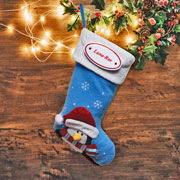 Blue Penguin Christmas Stocking with Personalised Plaque