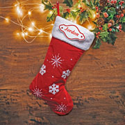 Red Snowflake Christmas Stocking with Personalised Plaque