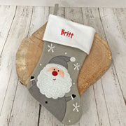 Personalised Silver Santa Deluxe Christmas Stocking