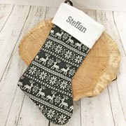 Personalised Grey Nordic Print Luxury Christmas Stocking